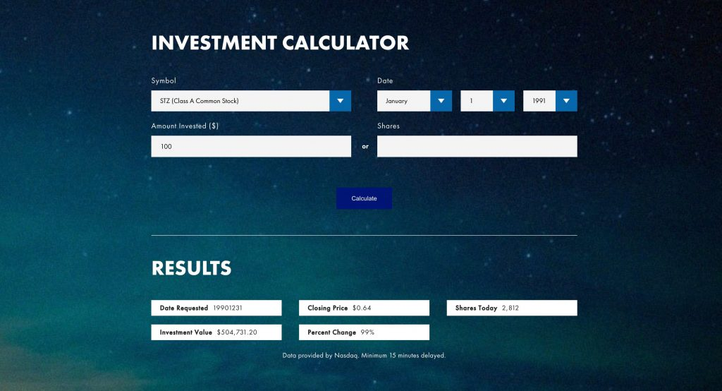 Constellation Brands Investment Strategies Calculator