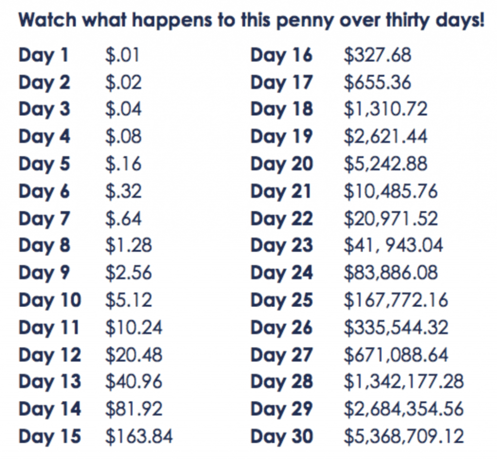 Penny Doubled Every day for a Month